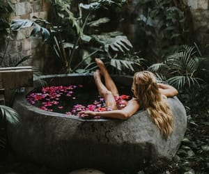 flowers, tub, and hair image