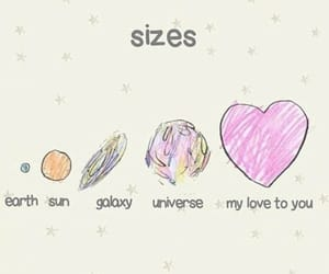 size, galaxy, and love image