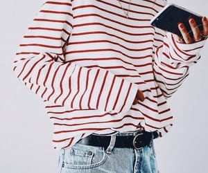 fashion, red, and stripes image
