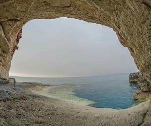 beach, cave, and golden image