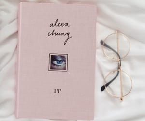 book, pink, and glasses image