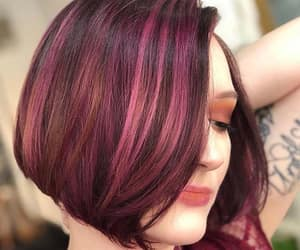 bob cut, burgundy, and hairstyle image