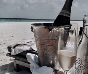 beach, summer vibes, and champagne image