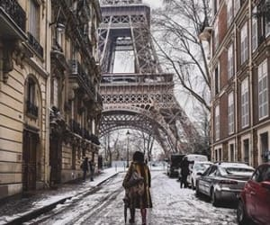 eiffel tower, street, and winter image