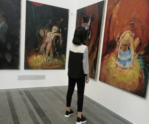 art, black hair, and girl image