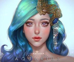 aquarius, zodiac, and illustration image