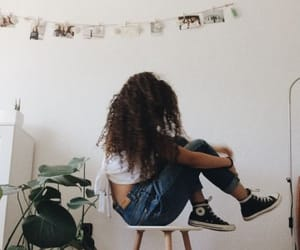character, curly hair, and woman image