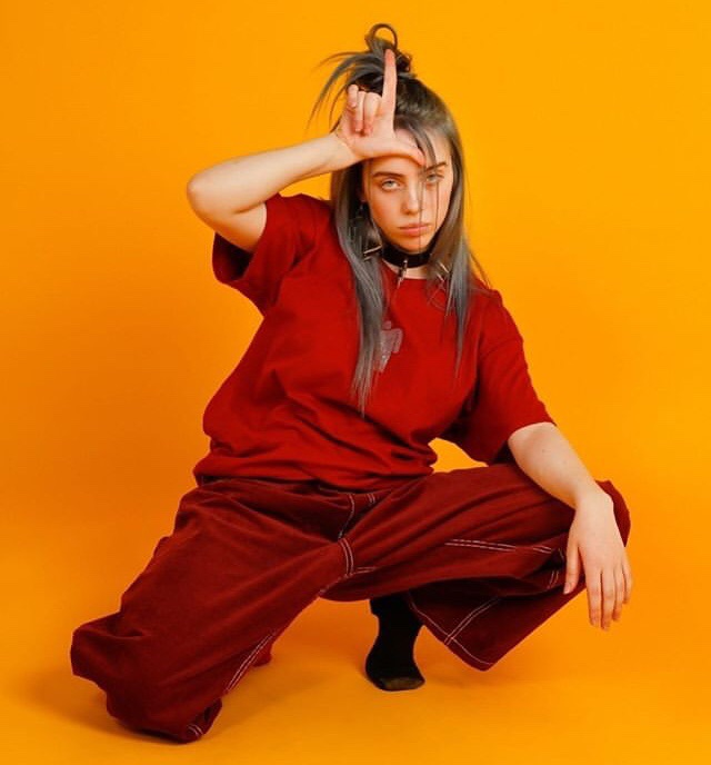 billie eilish, red, and yellow image