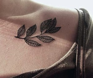 tattoo, leaves, and flowers image