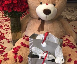 bear, love, and flowers image