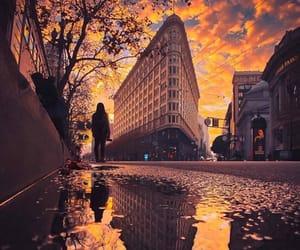 city, flames, and rain image