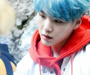 blue hair, cute, and bangtan image