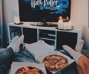 couple, harry potter, and pizza image