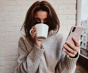 girl, coffee, and iphone image