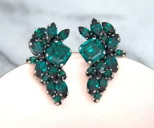 bridal jewelry, emerald, and etsy image
