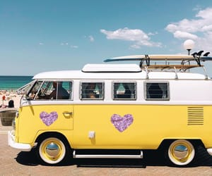 beach, surfboards, and vw image