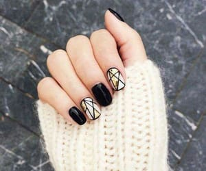 black nails, nailart, and uñas image