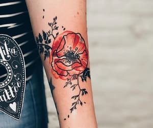 arm, flower, and ink image