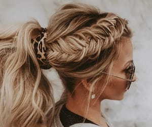 blonde, braid, and casual image