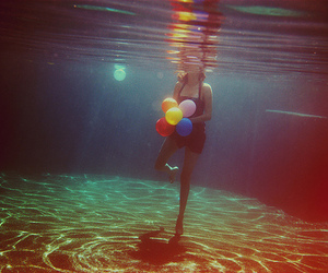 girl, water, and balloons image