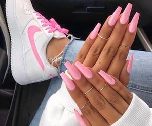 nails, pink, and nike image