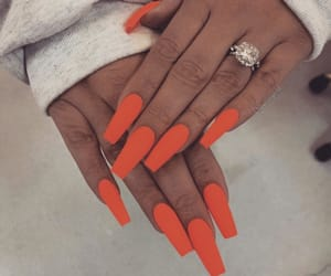 orange nails, perfect nails, and arcylic nails image