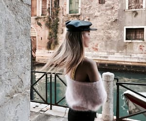 beret, blonde, and chic image