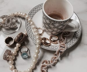 necklace, pearls, and coffee image