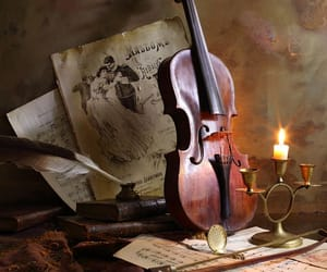 candle, vintage, and violin image