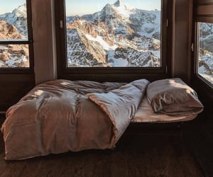 mountains, bed, and snow image