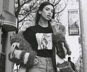 dua lipa and black and white image