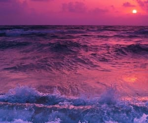 sunset, waves, and pink image