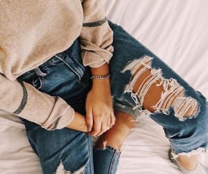 blogger, ripped jeans, and blue jeans image