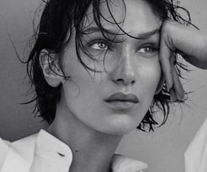 model, bella hadid, and black and white image