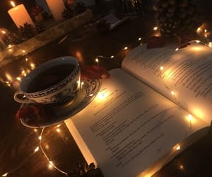 book, cup, and light image