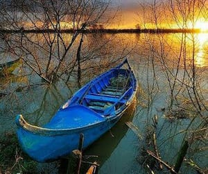 boat and sunset image
