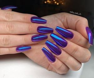 nails, coffin shape, and purple chrome image