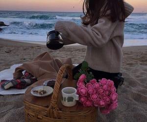 beach, food, and ocean image