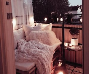 balcony, candles, and cozy image