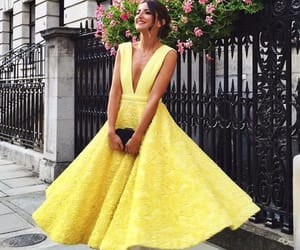dress, yellow, and formal image