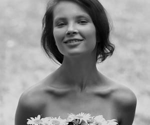 beauty, black & white, and flowers image