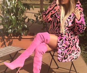 fur coat, pink, and pink heels image