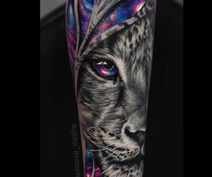 galaxy, ink, and lion image