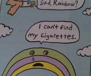 cigarette, rainbow, and sad image