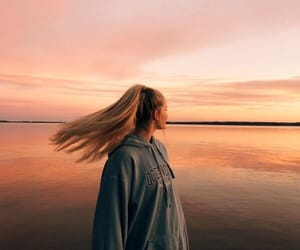 girl, sunset, and hairstyle image