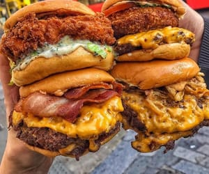 food, delicious, and burger image
