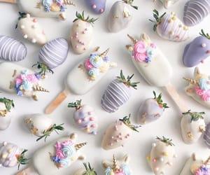 food, strawberry, and unicorn image