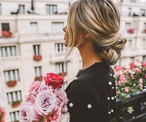 girl, flowers, and outfit image