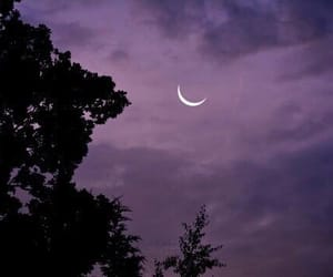 sky, moon, and purple image