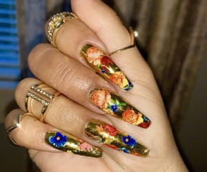 nails, acrylic, and floral image